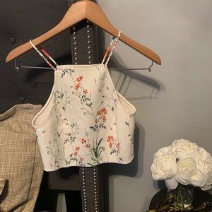 Zara White Floral Back Cut Out Crop Top Size XS